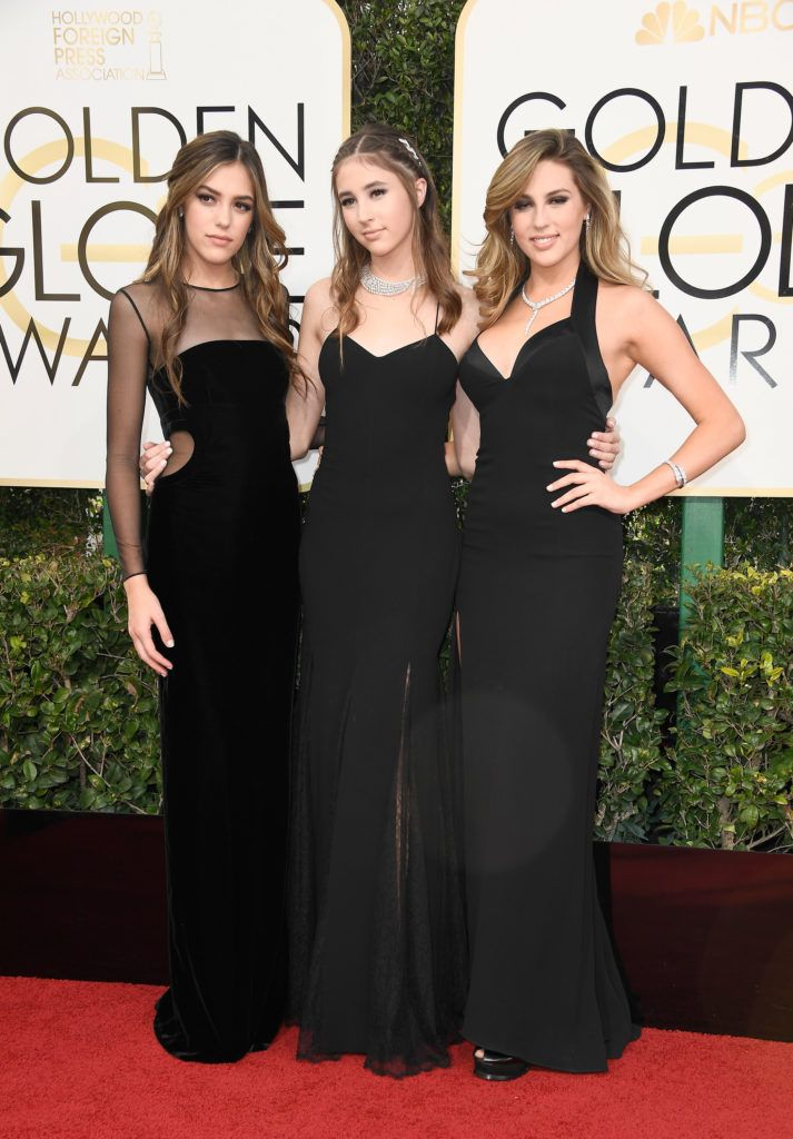 BEVERLY HILLS, CA - JANUARY 08:  (L-R) Miss Golden Globes Sistine Stallone, Miss Golden Globes Scarlet Stallone, and Miss Golden Globes Sophia Stallone attend the 74th Annual Golden Globe Awards at The Beverly Hilton Hotel on January 8, 2017 in Beverly Hills, California.  (Photo by Frazer Harrison/Getty Images)