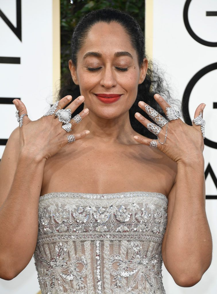 BEVERLY HILLS, CA - JANUARY 08:  Actress Tracee Ellis Ross attends the 74th Annual Golden Globe Awards at The Beverly Hilton Hotel on January 8, 2017 in Beverly Hills, California.  (Photo by Frazer Harrison/Getty Images)