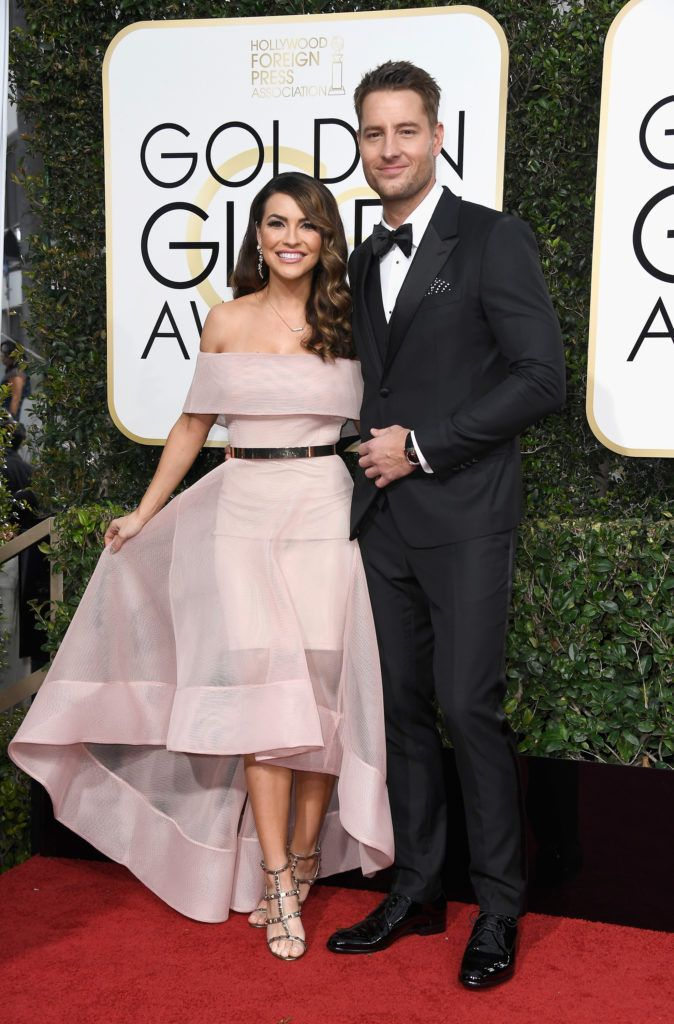 BEVERLY HILLS, CA - JANUARY 08:  Actor Justin Hartley (R) and Chrishell Stause attend the 74th Annual Golden Globe Awards at The Beverly Hilton Hotel on January 8, 2017 in Beverly Hills, California.  (Photo by Frazer Harrison/Getty Images)
