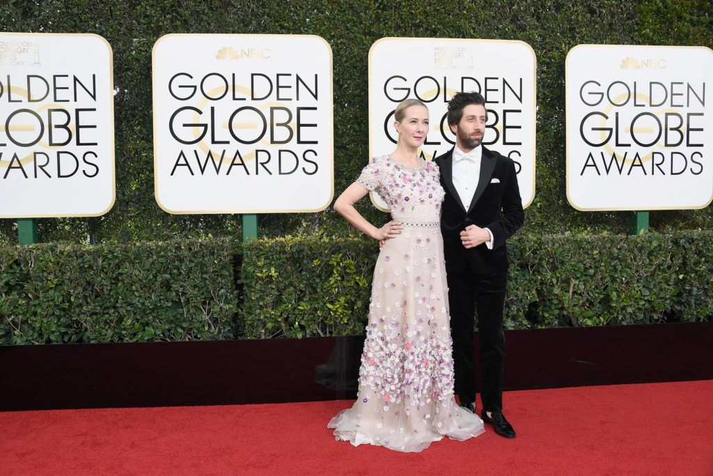 BEVERLY HILLS, CA - JANUARY 08:  Actor Simon Helberg (R) and Jocelyn Towne attend the 74th Annual Golden Globe Awards at The Beverly Hilton Hotel on January 8, 2017 in Beverly Hills, California.  (Photo by Frazer Harrison/Getty Images)