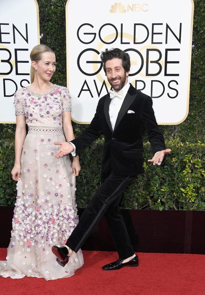 BEVERLY HILLS, CA - JANUARY 08:  (L-R) Actors Jocelyn Towne and Simon Helberg  attend the 74th Annual Golden Globe Awards at The Beverly Hilton Hotel on January 8, 2017 in Beverly Hills, California.  (Photo by Frazer Harrison/Getty Images)