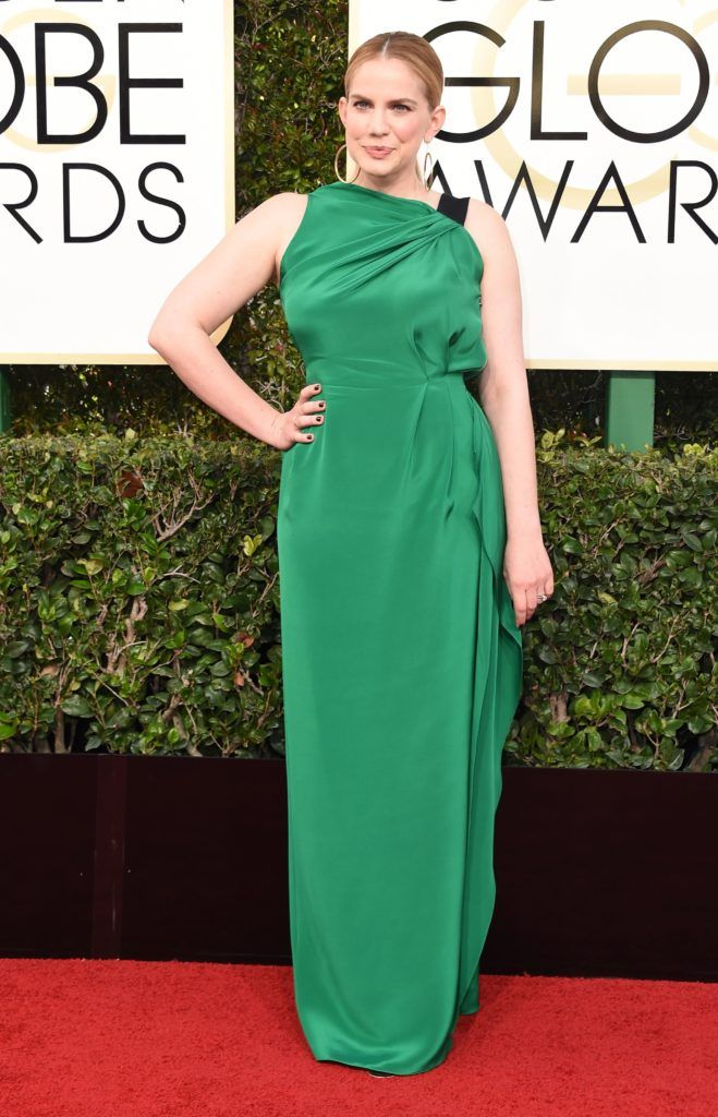 Anna Chlumsky arrives at the 74th annual Golden Globe Awards, January 8, 2017, at the Beverly Hilton Hotel in Beverly Hills, California.  / AFP / VALERIE MACON        (Photo credit should read VALERIE MACON/AFP/Getty Images)