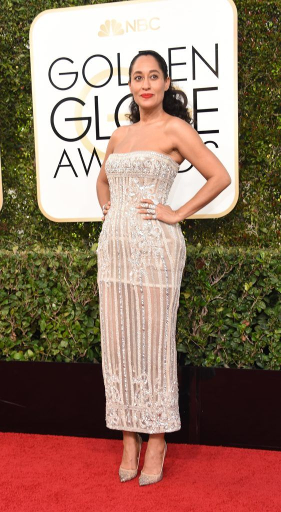 Actress Tracee Ellis Ross arrives at the 74th annual Golden Globe Awards, January 8, 2017, at the Beverly Hilton Hotel in Beverly Hills, California.  / AFP / VALERIE MACON        (Photo credit should read VALERIE MACON/AFP/Getty Images)