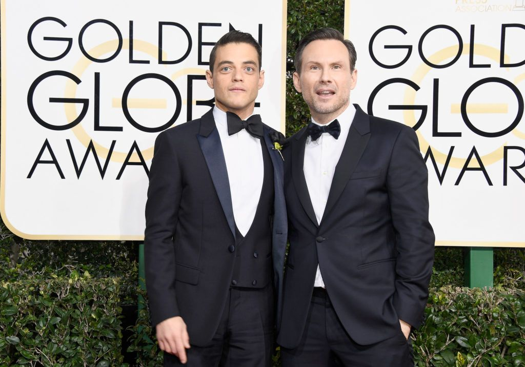 BEVERLY HILLS, CA - JANUARY 08:  Actors Rami Malek (L) and Christian Slater attend the 74th Annual Golden Globe Awards at The Beverly Hilton Hotel on January 8, 2017 in Beverly Hills, California.  (Photo by Frazer Harrison/Getty Images)