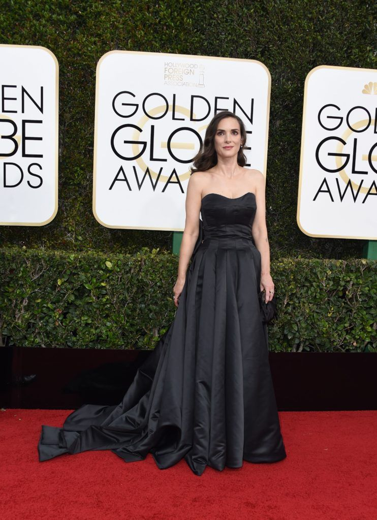 Actress Winona Ryder arrives at the 74th annual Golden Globe Awards, January 8, 2017, at the Beverly Hilton Hotel in Beverly Hills, California.       (Photo VALERIE MACON/AFP/Getty Images)
