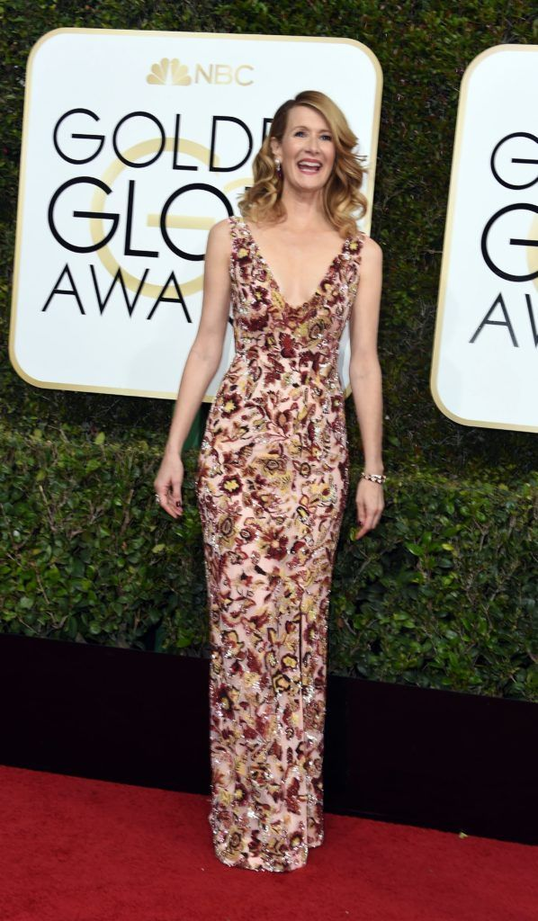 Actress Laura Dern arrives at the 74th annual Golden Globe Awards, January 8, 2017, at the Beverly Hilton Hotel in Beverly Hills, California.      (Photo VALERIE MACON/AFP/Getty Images)