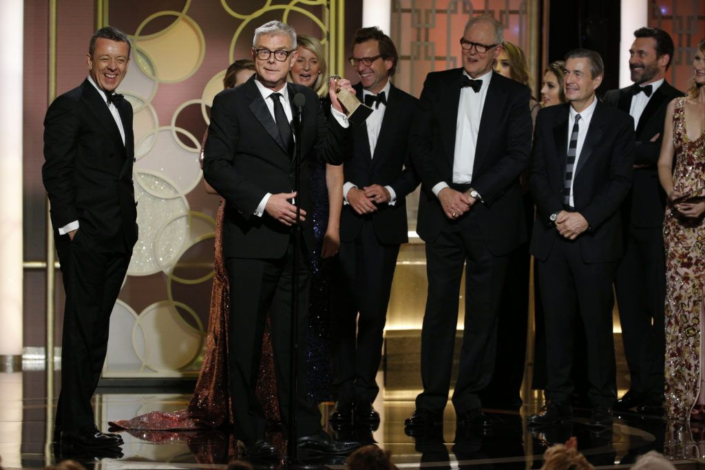 "BEVERLY HILLS, CA - JANUARY 08: In this handout photo provided by NBCUniversal, producer and director Stephen Daldry accepts the award for Best Television Series - Drama for ""The Crown"" onstage during the 74th Annual Golden Globe Awards at The Beverly Hilton Hotel on January 8, 2017 in Beverly Hills, California. (Photo by Paul Drinkwater/NBCUniversal via Getty Images)"