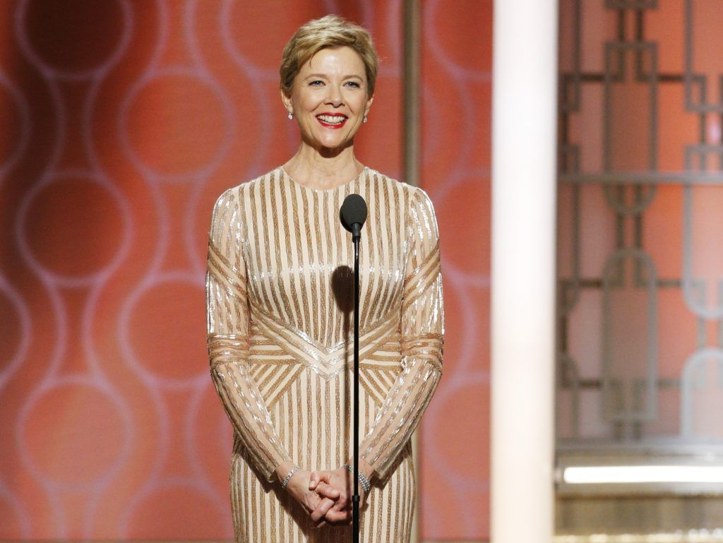 BEVERLY HILLS, CA - JANUARY 08: In this handout photo provided by NBCUniversal, presenter Annette Benning onstage during the 74th Annual Golden Globe Awards at The Beverly Hilton Hotel on January 8, 2017 in Beverly Hills, California. (Photo by Paul Drinkwater/NBCUniversal via Getty Images)