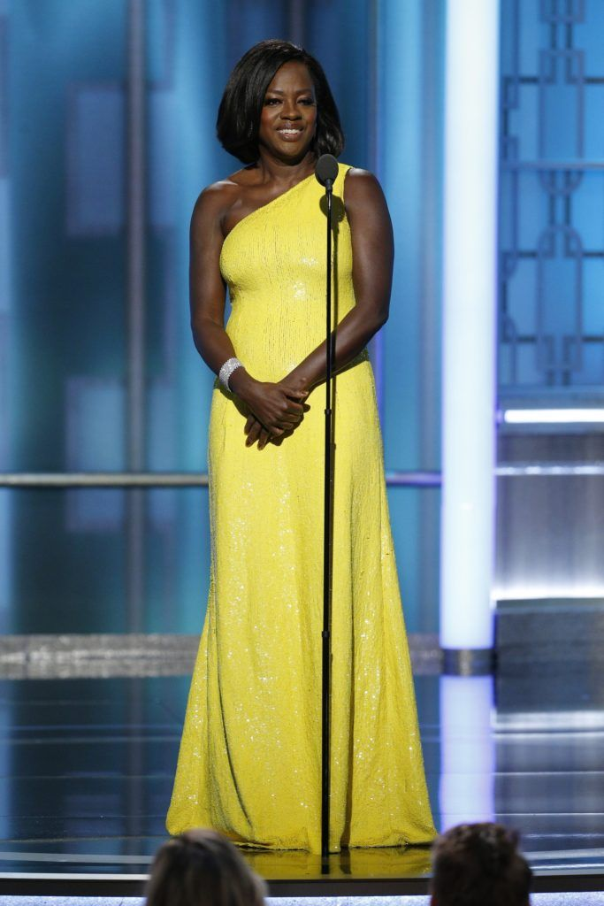 BEVERLY HILLS, CA - JANUARY 08: In this handout photo provided by NBCUniversal, presenter Viola Davis onstage during the 74th Annual Golden Globe Awards at The Beverly Hilton Hotel on January 8, 2017 in Beverly Hills, California. (Photo by Paul Drinkwater/NBCUniversal via Getty Images)