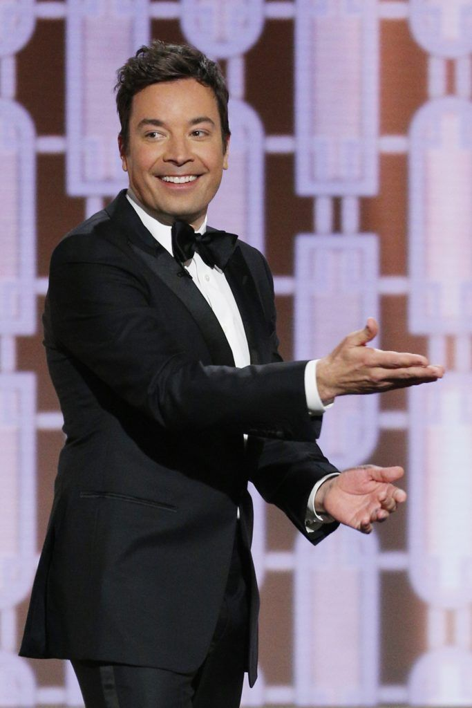 BEVERLY HILLS, CA - JANUARY 08: In this handout photo provided by NBCUniversal, host Jimmy Fallon onstage during the 74th Annual Golden Globe Awards at The Beverly Hilton Hotel on January 8, 2017 in Beverly Hills, California. (Photo by Paul Drinkwater/NBCUniversal via Getty Images)