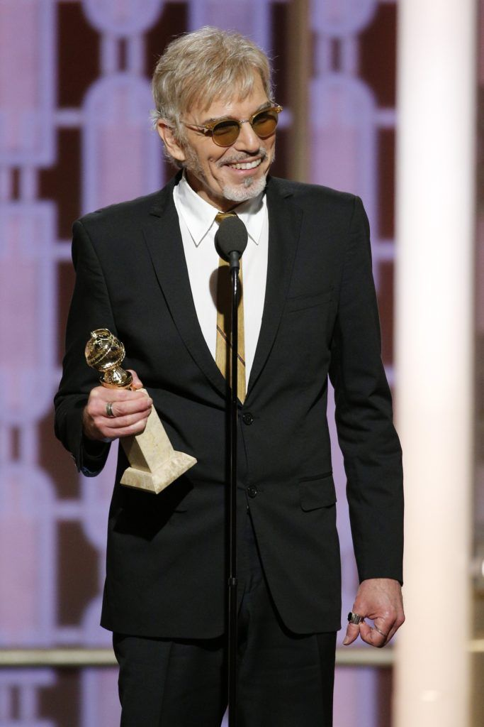 "BEVERLY HILLS, CA - JANUARY 08: In this handout photo provided by NBCUniversal,  Billy Bob Thornton accepts the award for Best Actor in a TV Series - Drama for his role in ""Goliath"" during the 74th Annual Golden Globe Awards at The Beverly Hilton Hotel on January 8, 2017 in Beverly Hills, California. (Photo by Paul Drinkwater/NBCUniversal via Getty Images)"