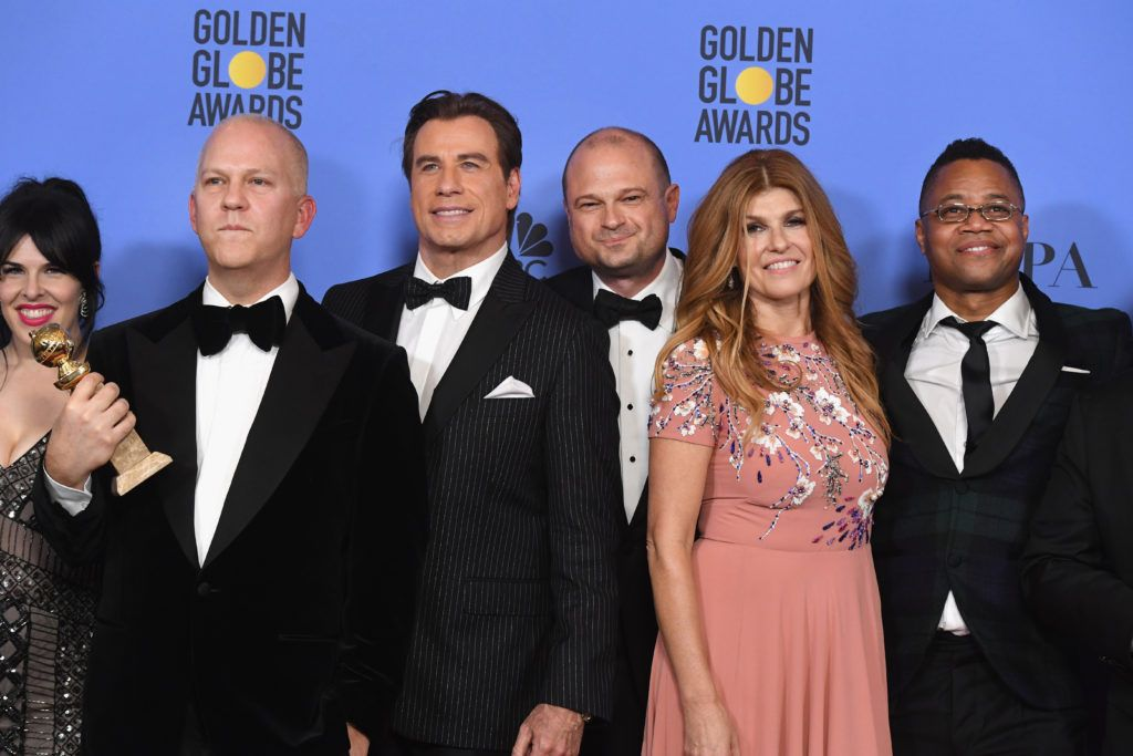 BEVERLY HILLS, CA - JANUARY 08:  (L-R) Producer Alexis Martin Woodall, writer/producer Ryan Murphy, actor John Travolta, producer Brad Simpson, and actors Connie Britton and Cuba Gooding Jr., winners of Best Miniseries or Television Film for 'The People v. O.J. Simpson: American Crime Story,' pose in the press room during the 74th Annual Golden Globe Awards at The Beverly Hilton Hotel on January 8, 2017 in Beverly Hills, California.  (Photo by Kevin Winter/Getty Images)
