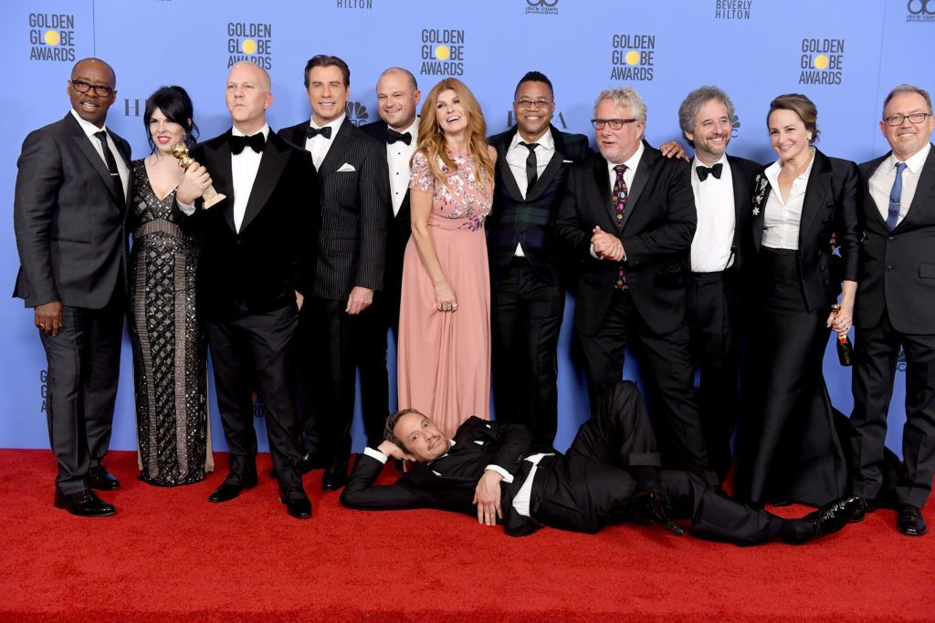 BEVERLY HILLS, CA - JANUARY 08:  Cast and crew of 'The People v. O.J. Simpson: American Crime Story,' winner of Best Miniseries or Television Film, pose in the press room during the 74th Annual Golden Globe Awards at The Beverly Hilton Hotel on January 8, 2017 in Beverly Hills, California.  (Photo by Kevin Winter/Getty Images)