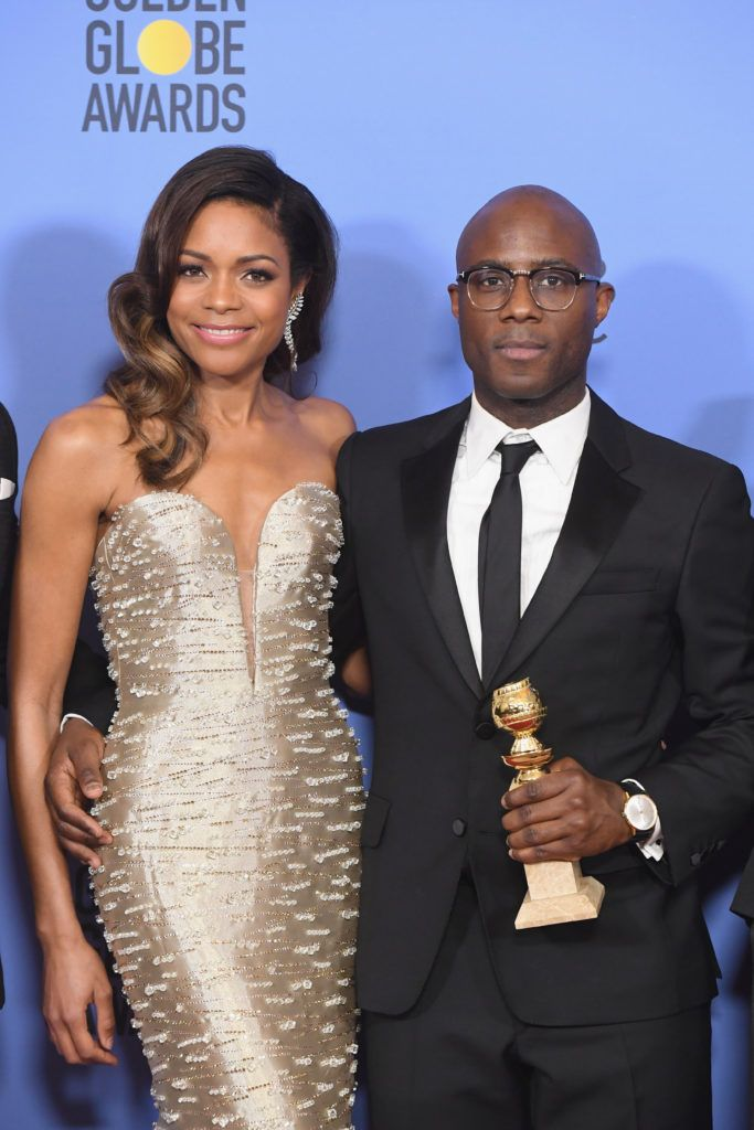 BEVERLY HILLS, CA - JANUARY 08:  Actress Naomie Harris (L) and director Barry Jenkins, winners of Best Motion Picture - Drama for 'Moonlight,' pose in the press room during the 74th Annual Golden Globe Awards at The Beverly Hilton Hotel on January 8, 2017 in Beverly Hills, California.  (Photo by Kevin Winter/Getty Images)