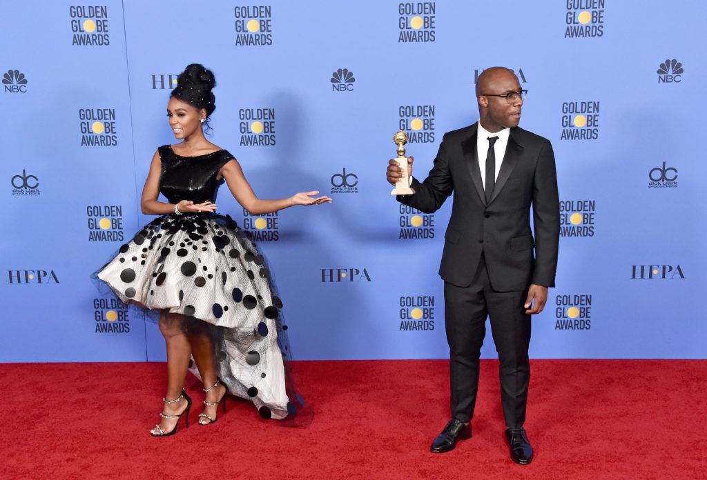 BEVERLY HILLS, CA - JANUARY 08:  Singer/actress Janelle Monae (L) and filmmaker Barry Jenkins pose in the press room during the 74th Annual Golden Globe Awards at The Beverly Hilton Hotel on January 8, 2017 in Beverly Hills, California.  (Photo by Alberto E. Rodriguez/Getty Images)