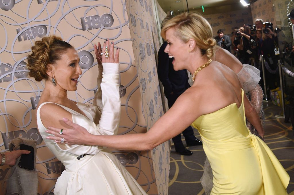 BEVERLY HILLS, CA - JANUARY 08:  Actresses Sarah Jessica Parker, Reese Witherspoon and Nicole Kidman attend HBO's Official Golden Globe Awards After Party at Circa 55 Restaurant on January 8, 2017 in Beverly Hills, California.  (Photo by Joshua Blanchard/Getty Images)
