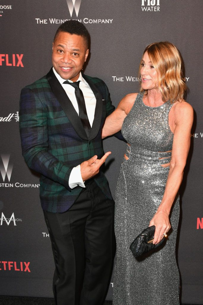 BEVERLY HILLS, CA - JANUARY 08:  Actor Cuba Gooding Jr. (L) and Sara Kapfer attend The Weinstein Company and Netflix Golden Globe Party, presented with FIJI Water, Grey Goose Vodka, Lindt Chocolate, and Moroccanoil at The Beverly Hilton Hotel on January 8, 2017 in Beverly Hills, California.  (Photo by Earl Gibson III/Getty Images)