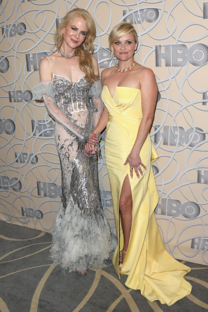 BEVERLY HILLS, CA - JANUARY 08: Actresses Nicole Kidman (L) and Reese Witherspoon attend HBO's Official Golden Globe Awards After Party at Circa 55 Restaurant on January 8, 2017 in Beverly Hills, California.  (Photo by Frederick M. Brown/Getty Images)