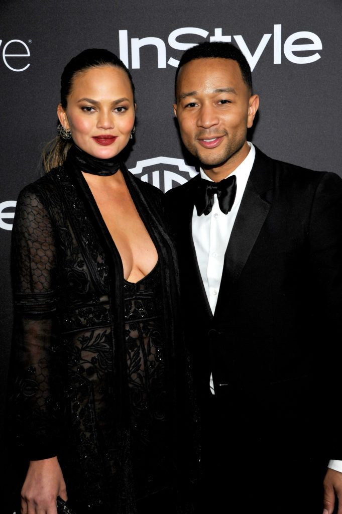 BEVERLY HILLS, CA - JANUARY 08:  Model Chrissy Teigen (L) and singer John Legend attend The 2017 InStyle and Warner Bros. 73rd Annual Golden Globe Awards Post-Party at The Beverly Hilton Hotel on January 8, 2017 in Beverly Hills, California.  (Photo by John Sciulli/Getty Images for InStyle)