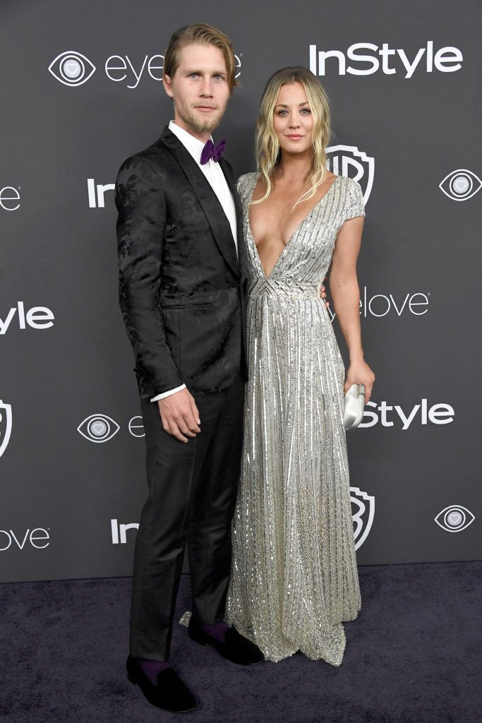 BEVERLY HILLS, CA - JANUARY 08:  Actress Kaley Cuoco (R) and Karl Cook attend the 18th Annual Post-Golden Globes Party hosted by Warner Bros. Pictures and InStyle at The Beverly Hilton Hotel on January 8, 2017 in Beverly Hills, California.  (Photo by Frazer Harrison/Getty Images)