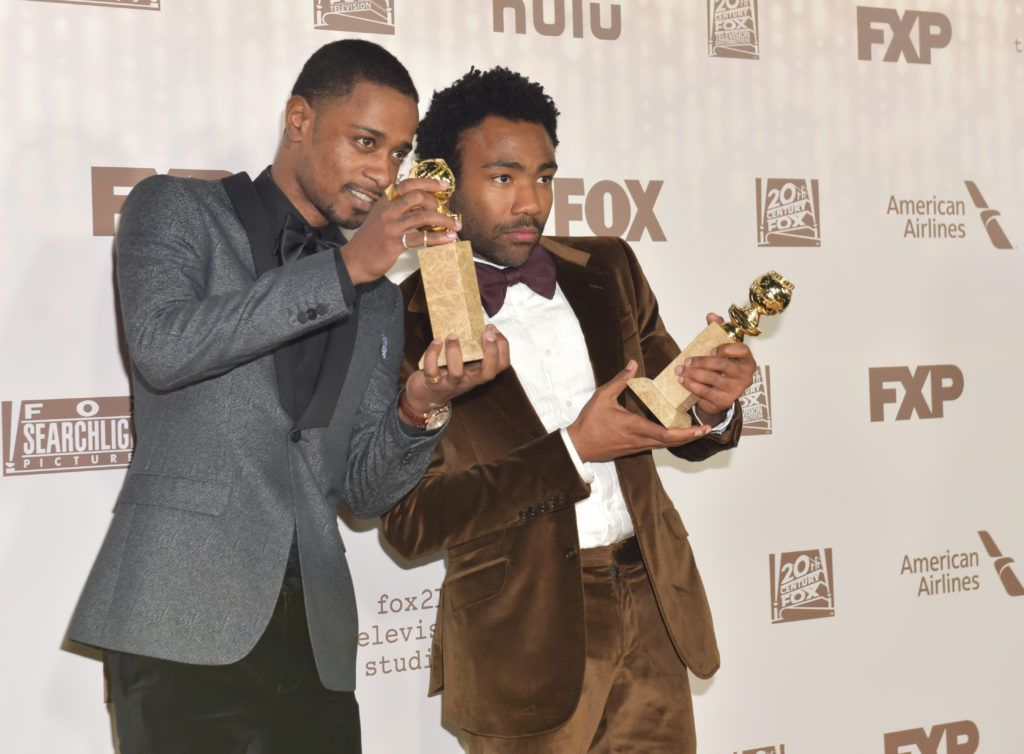 BEVERLY HILLS, CA - JANUARY 08:  Actors Keith Stanfield (L) and Donald Glover, winners of Best Television Series - Musical or Comedy for 'Atlanta,' attend FOX and FX's 2017 Golden Globe Awards after party at The Beverly Hilton Hotel on January 8, 2017 in Beverly Hills, California.  (Photo by Rodin Eckenroth/Getty Images)