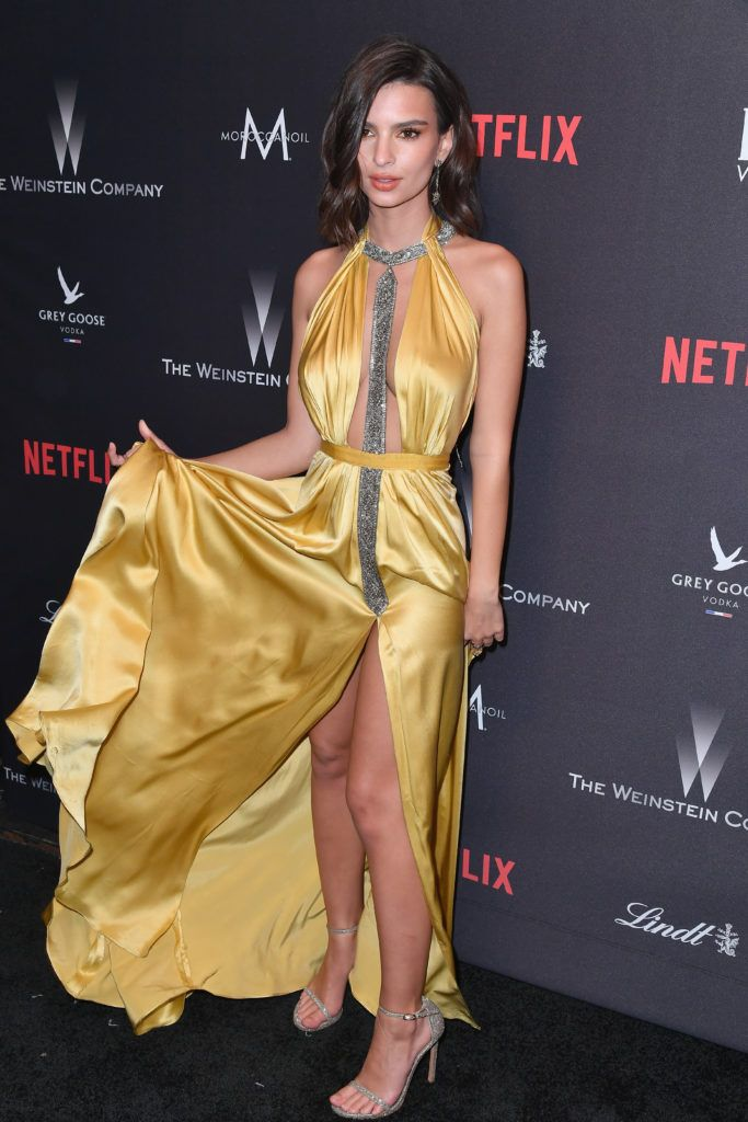 BEVERLY HILLS, CA - JANUARY 08:  Actress Emily Ratajkowski attends The Weinstein Company and Netflix Golden Globe Party, presented with FIJI Water, Grey Goose Vodka, Lindt Chocolate, and Moroccanoil at The Beverly Hilton Hotel on January 8, 2017 in Beverly Hills, California.  (Photo by Earl Gibson III/Getty Images)