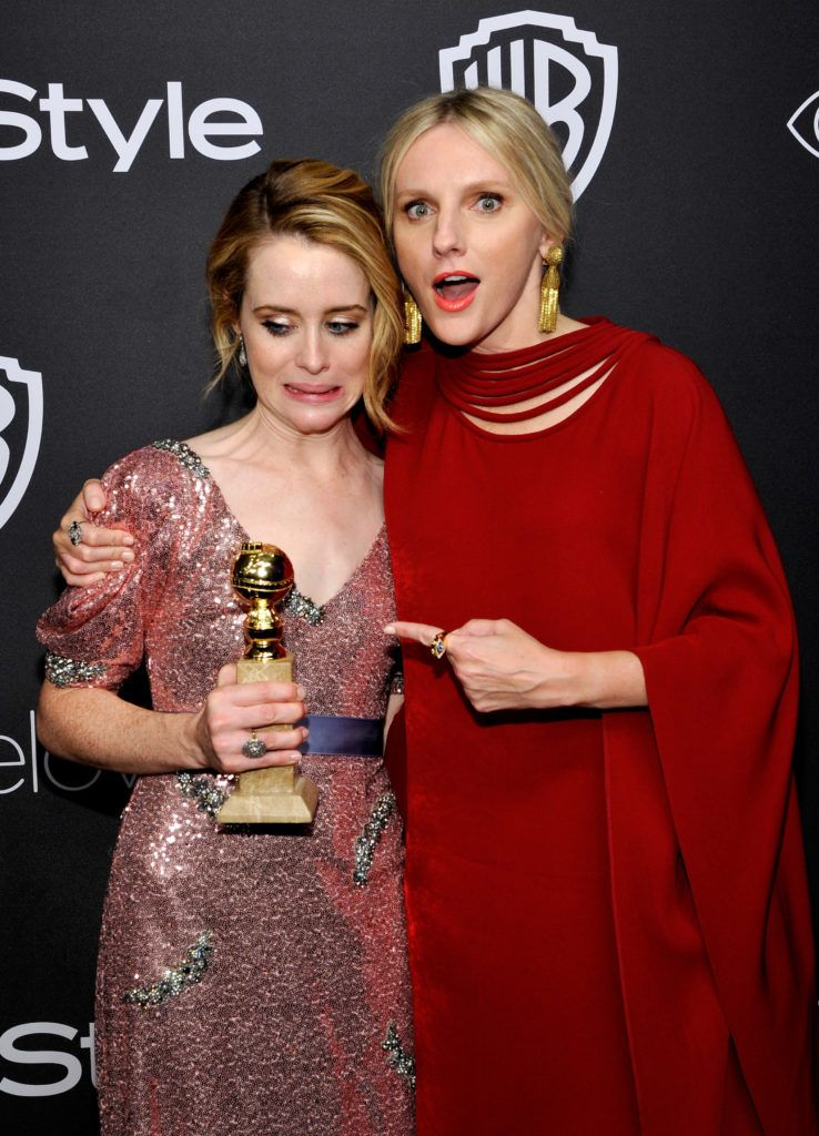 BEVERLY HILLS, CA - JANUARY 08:  Actress Claire Foy , winner of the Best Performance by an Actress in a Television Series Drama for 'The Crown' (L) and InStyle Editor-in-Chief Laura Brown attend The 2017 InStyle and Warner Bros. 73rd Annual Golden Globe Awards Post-Party at The Beverly Hilton Hotel on January 8, 2017 in Beverly Hills, California.  (Photo by John Sciulli/Getty Images for InStyle)