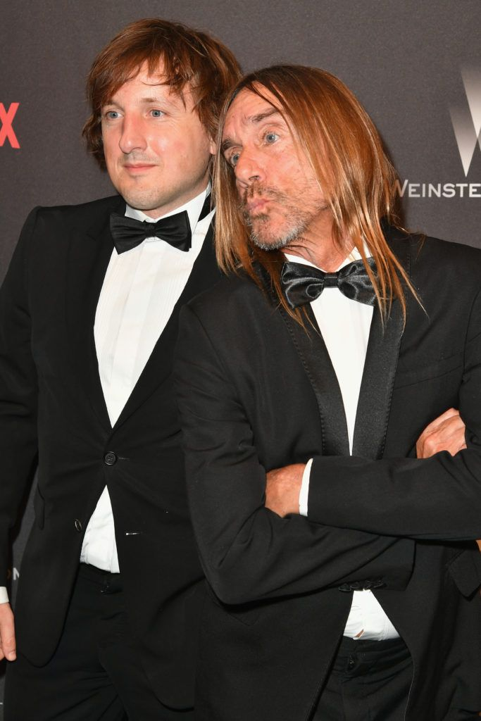 BEVERLY HILLS, CA - JANUARY 08:  Songwriters David Pemberton (L) and Iggy Pop attend The Weinstein Company and Netflix Golden Globe Party, presented with FIJI Water, Grey Goose Vodka, Lindt Chocolate, and Moroccanoil at The Beverly Hilton Hotel on January 8, 2017 in Beverly Hills, California.  (Photo by Earl Gibson III/Getty Images)