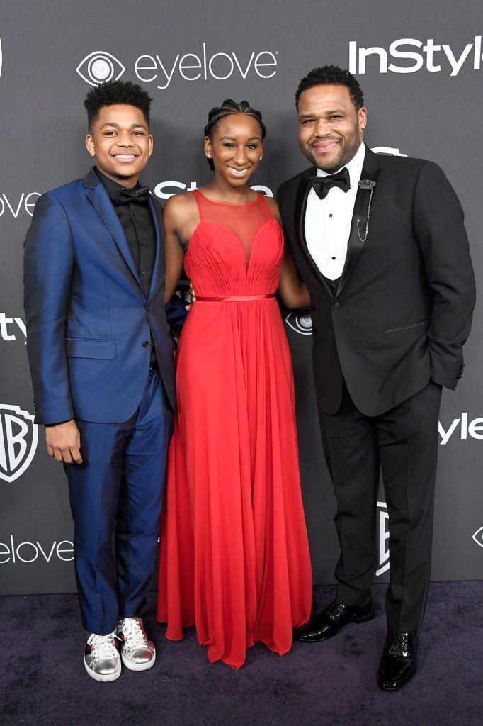 BEVERLY HILLS, CA - JANUARY 08:  Actor Anthony Anderson (R) with Nathan Anderson and Kyra Anderson attend the 18th Annual Post-Golden Globes Party hosted by Warner Bros. Pictures and InStyle at The Beverly Hilton Hotel on January 8, 2017 in Beverly Hills, California.  (Photo by Frazer Harrison/Getty Images)