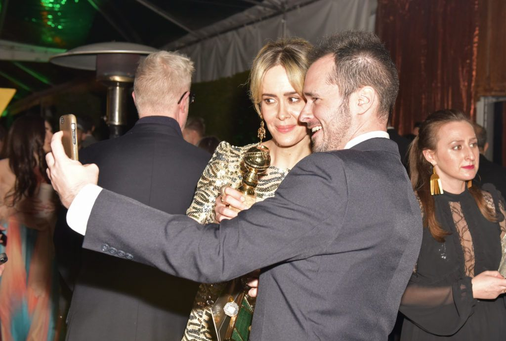BEVERLY HILLS, CA - JANUARY 08:  Actress Sarah Paulson and Director Tom Ford pose for a selfie at FOX and FX's 2017 Golden Globe Awards after party at The Beverly Hilton Hotel on January 8, 2017 in Beverly Hills, California.  (Photo by Rodin Eckenroth/Getty Images)