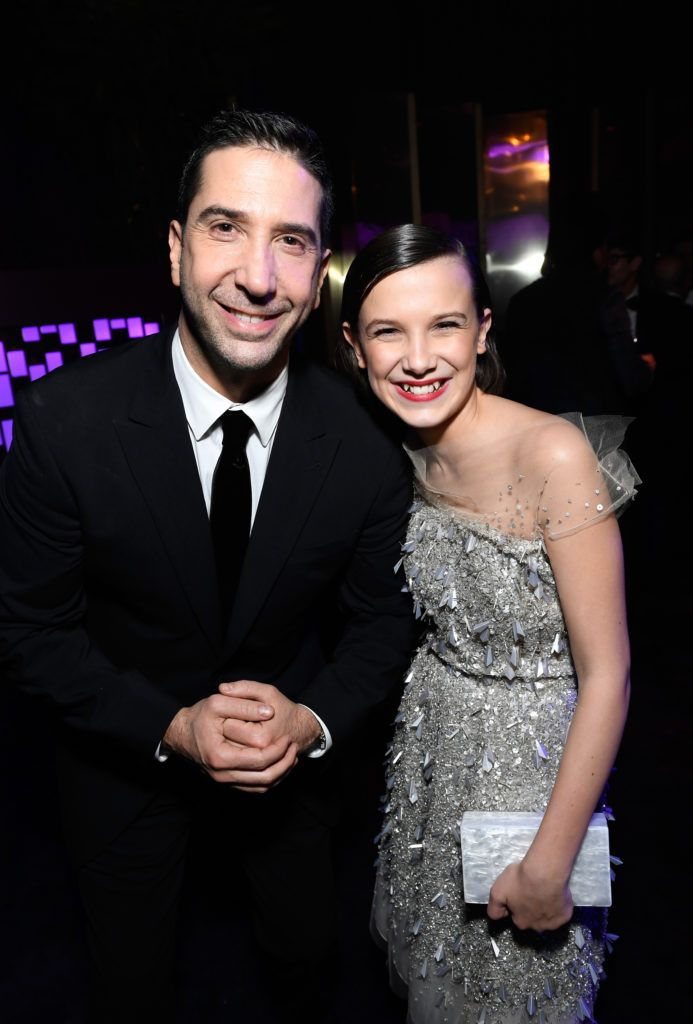 BEVERLY HILLS, CA - JANUARY 08:  Actors David Schwimmer (L) and Millie Bobby Brown attend The 2017 InStyle and Warner Bros. 73rd Annual Golden Globe Awards Post-Party at The Beverly Hilton Hotel on January 8, 2017 in Beverly Hills, California.  (Photo by Matt Winkelmeyer/Getty Images for InStyle)