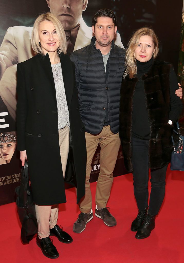 Nelly Herbut,Tomas Simonis and Ellen Mijeda at the Irish premiere screening of Ben Affleck's new film  Live by  Night at the Savoy Cinema, Dublin.  Picture:Brian McEvoy