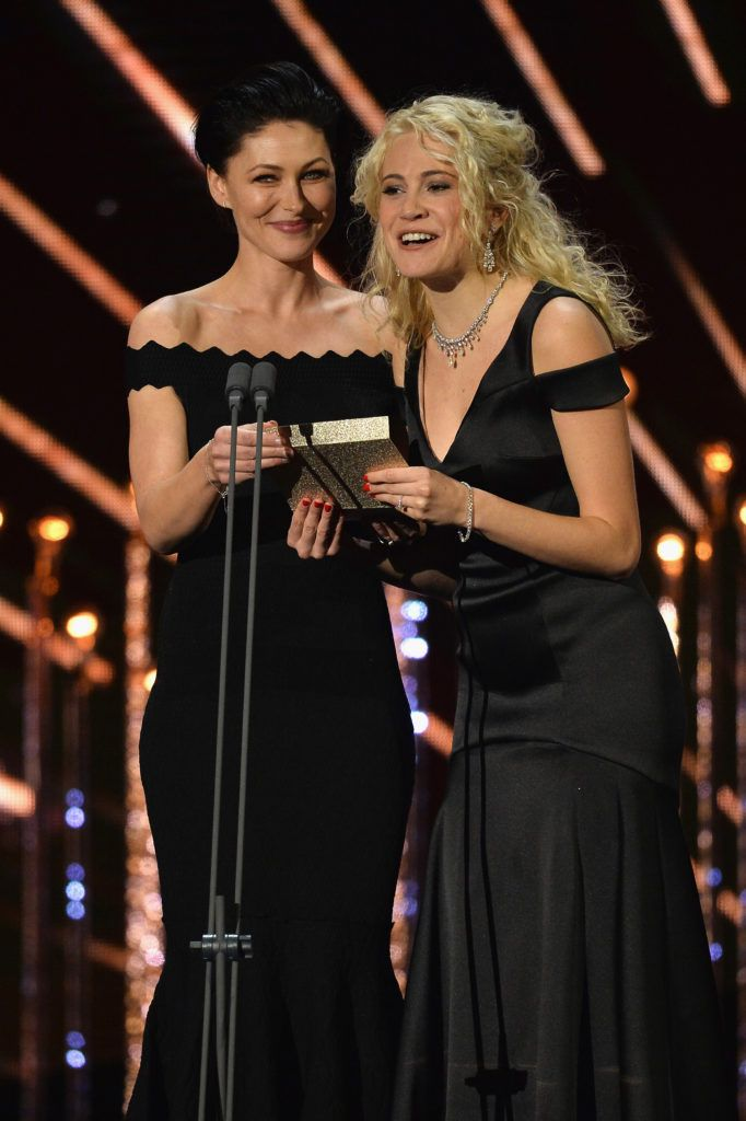LONDON, ENGLAND - JANUARY 25:  Emma Willis and Pixie Lott on stage during the National Television Awards at The O2 Arena on January 25, 2017 in London, England.  (Photo by Jeff Spicer/Getty Images)