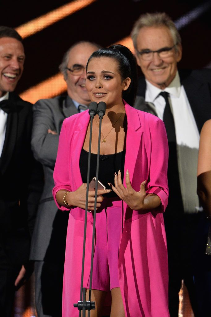 LONDON, ENGLAND - JANUARY 25:  Scarlett Moffatt accepts the Best Challenge Show award for I'm a Celebrity... Get Me Out of Here, on stage during the National Television Awards at The O2 Arena on January 25, 2017 in London, England.  (Photo by Jeff Spicer/Getty Images)