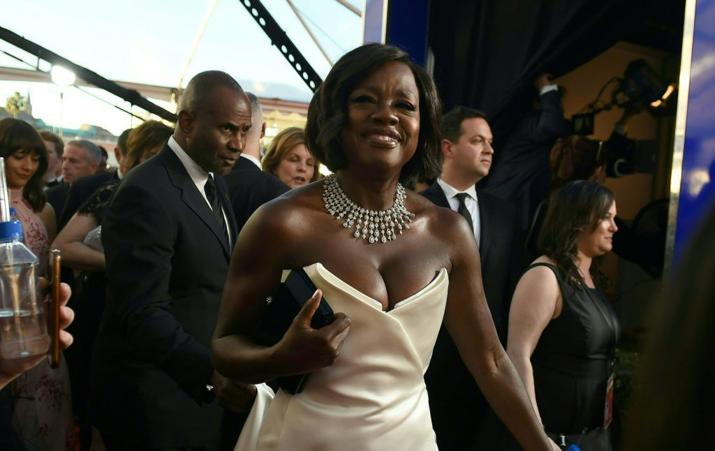 Actress Viola Davis arrives for the 23rd Annual Screen Actors Guild Awards at the Shrine Exposition Center on January 29, 2017, in Los Angeles, California.  (Photo ROBYN BECK/AFP/Getty Images)