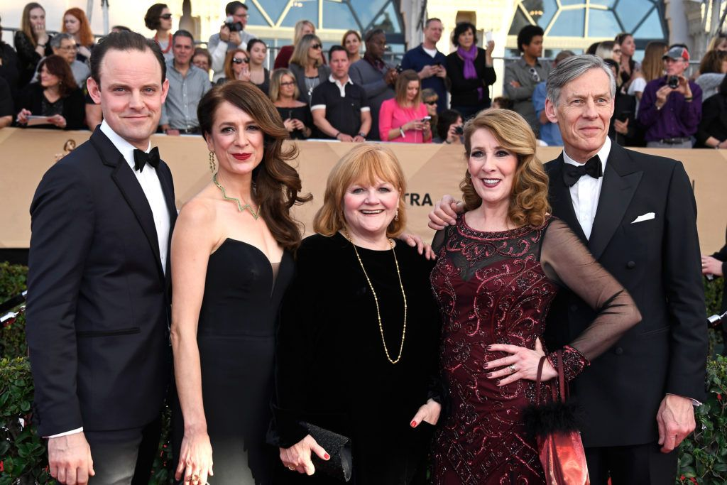 LOS ANGELES, CA - JANUARY 29:  (L-R) Actors Harry Hadden-Paton, Raquel Cassidy, Lesley Nicol, Phyllis Logan, and Douglas Reith attend The 23rd Annual Screen Actors Guild Awards at The Shrine Auditorium on January 29, 2017 in Los Angeles, California. 26592_008  (Photo by Frazer Harrison/Getty Images)