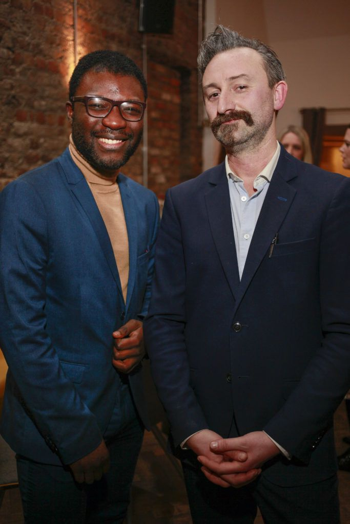 Timi Ogunyemi with Giovanni Viscardi co-owner at the launch night of Bagots Hutton Restaurant at 6 Upper Ormond Quay, Dublin. Photo by Daragh McDonagh
