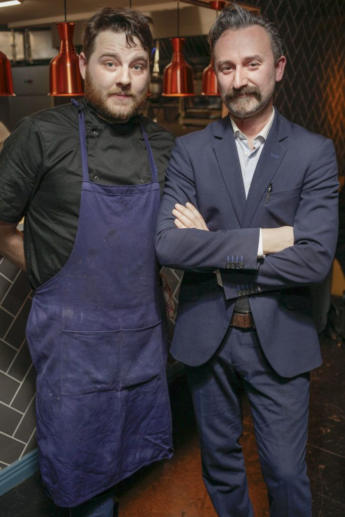 Sam Carey Chief Chef and Giovanni Viscardi co-owner at the launch night of Bagots Hutton Restaurant at 6 Upper Ormond Quay, Dublin. Photo by Daragh McDonagh