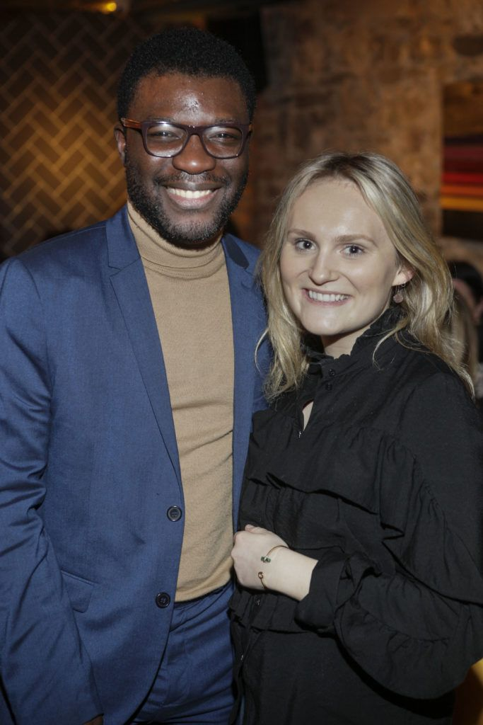 Timi Ogunyemi and Erica Hall at the launch night of Bagots Hutton Restaurant at 6 Upper Ormond Quay, Dublin. Photo by Daragh McDonagh
