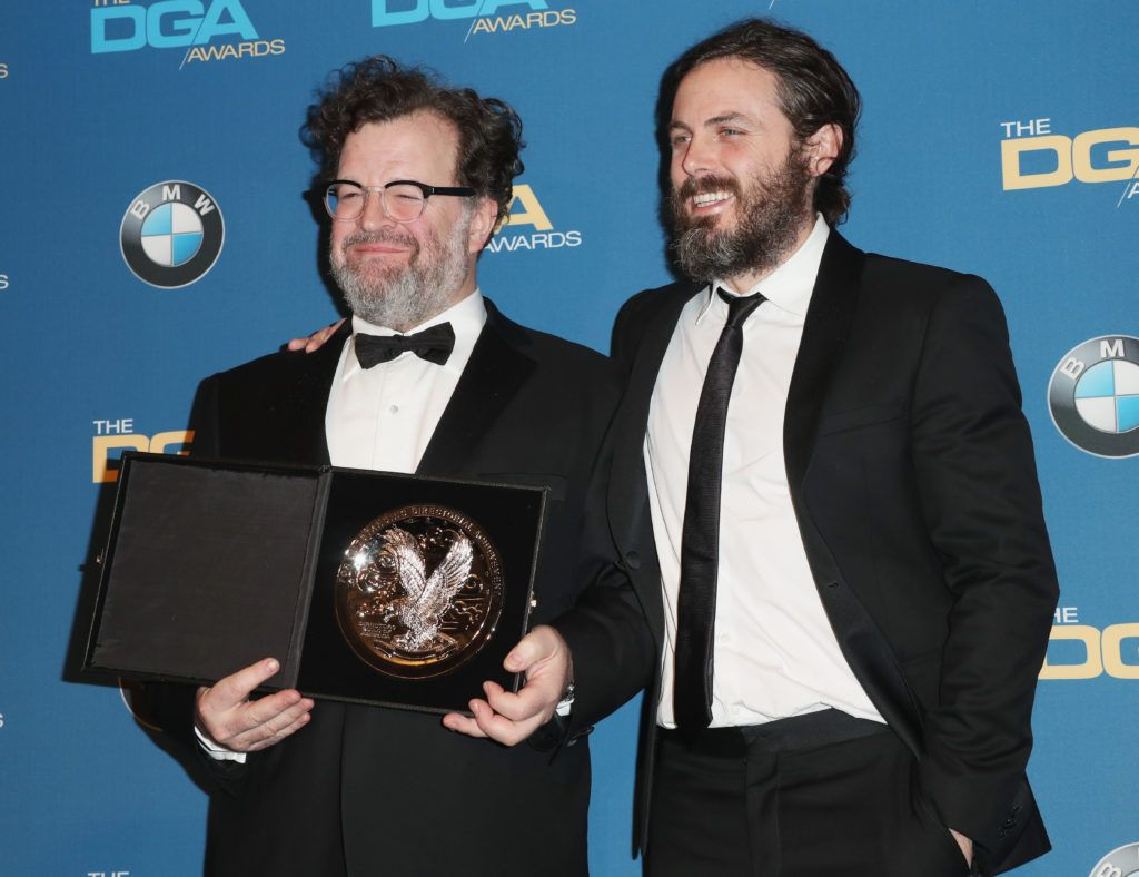 "Director Kenneth Lonergan (L), recipient of the Feature Film Nomination Plaque for ""Manchester By the Sea,"" poses with actor Casey Affleck in the press room during the 69th Annual Directors Guild of America Awards at The Beverly Hilton Hotel on February 4, 2017 in Beverly Hills, California.  (Photo by Frederick M. Brown/Getty Images)"