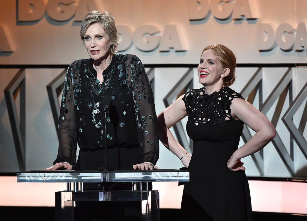 Jane Lynch (L) and Anna Chlumsky speak onstage during the 69th Annual Directors Guild of America Awards at The Beverly Hilton Hotel on February 4, 2017 in Beverly Hills, California.  (Photo by Alberto E. Rodriguez/Getty Images for DGA)