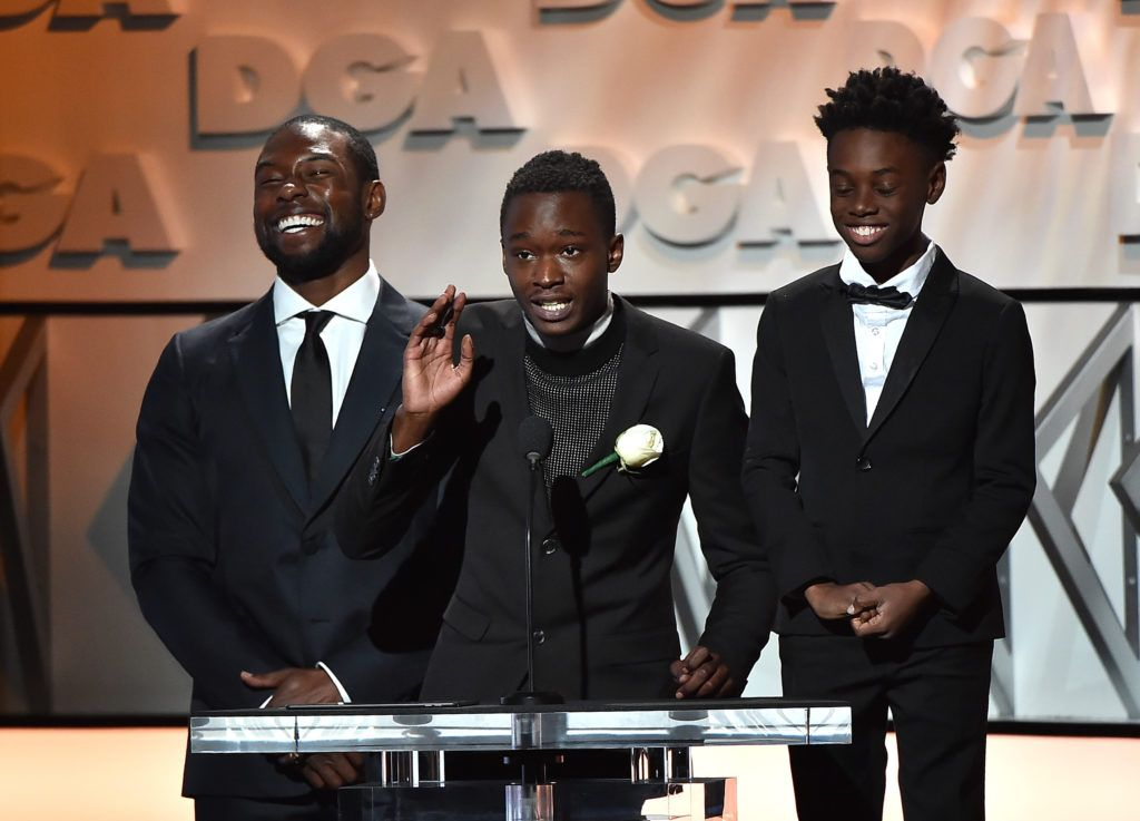 Actors Trevante Rhodes, Ashton Sanders and Alex R. Hibbert onstage during the 69th Annual Directors Guild of America Awards at The Beverly Hilton Hotel on February 4, 2017 in Beverly Hills, California.  (Photo by Alberto E. Rodriguez/Getty Images for DGA)