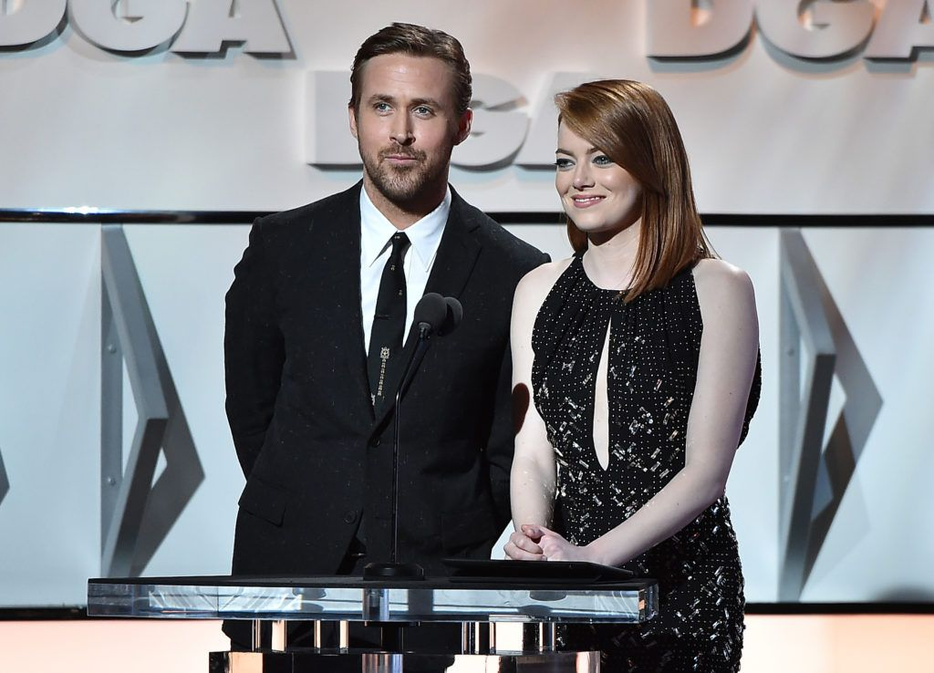Ryan Gosling (L) and Emma Stone onstage during the 69th Annual Directors Guild of America Awards at The Beverly Hilton Hotel on February 4, 2017 in Beverly Hills, California.  (Photo by Alberto E. Rodriguez/Getty Images for DGA)