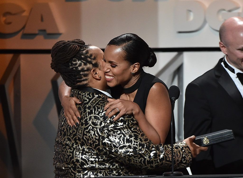 Director Tina Mabry (L) accepts the Outstanding Directorial Achievement in Children's Programs for 2016 award for 'An American Girl Story - Melody 1963: Love Has to Win' from actress Kerry Washington onstage during the 69th Annual Directors Guild of America Awards at The Beverly Hilton Hotel on February 4, 2017 in Beverly Hills, California.  (Photo by Alberto E. Rodriguez/Getty Images for DGA)