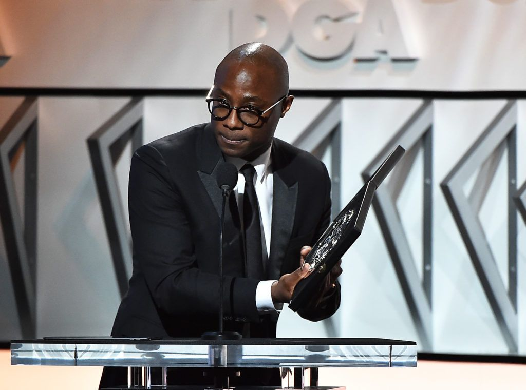 "Director Barry Jenkins, accepts the Feature Film Nomination Plaque for ""Moonlight"" onstage during the 69th Annual Directors Guild of America Awards at The Beverly Hilton Hotel on February 4, 2017 in Beverly Hills, California.  (Photo by Alberto E. Rodriguez/Getty Images for DGA)"