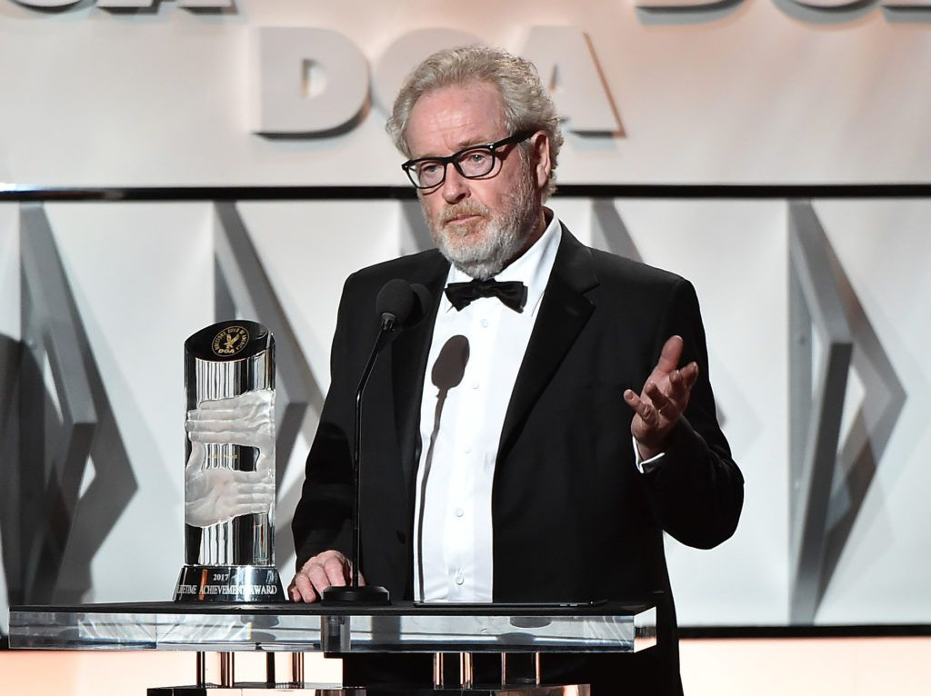 Director Sir Ridley Scott accepts the Lifetime Achievement in Feature Film Direction Award onstage during the 69th Annual Directors Guild of America Awards at The Beverly Hilton Hotel on February 4, 2017 in Beverly Hills, California.  (Photo by Alberto E. Rodriguez/Getty Images for DGA)