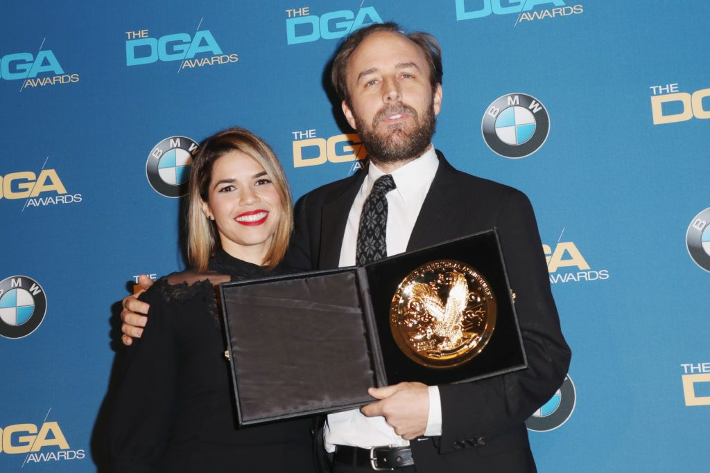 Director Derek Cianfrance (R), winner of the Outstanding Directorial Achievement in Commercials, poses with actress America Ferrera in the press room during the 69th Annual Directors Guild of America Awards at The Beverly Hilton Hotel on February 4, 2017 in Beverly Hills, California.  (Photo by Frederick M. Brown/Getty Images)