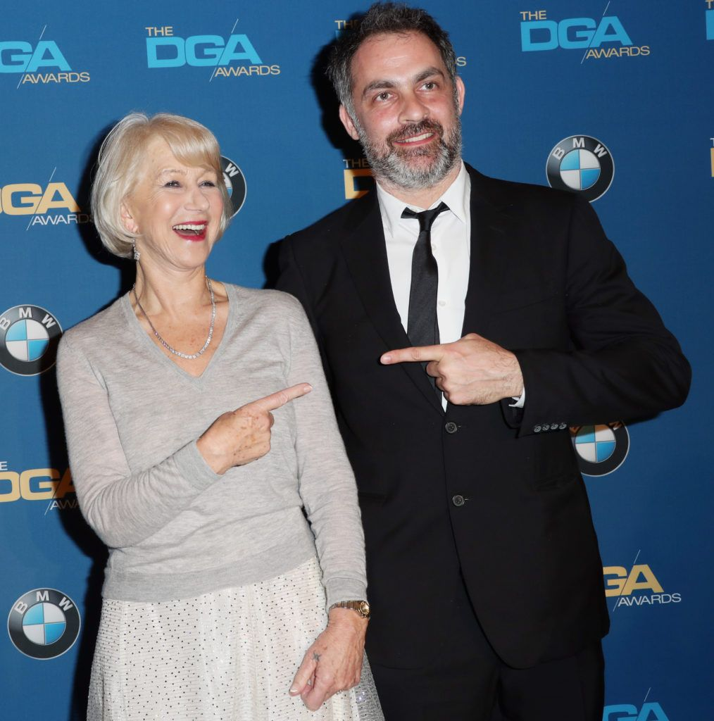 Director Miguel Sapochnik (R), winner of the Outstanding Directorial Achievement in Dramatic Series for the 'Game of Thrones' episode 'The Battle of the Bastards,' poses with actress Dame Helen Mirren in the press room during the 69th Annual Directors Guild of America Awards at The Beverly Hilton Hotel on February 4, 2017 in Beverly Hills, California.  (Photo by Frederick M. Brown/Getty Images)