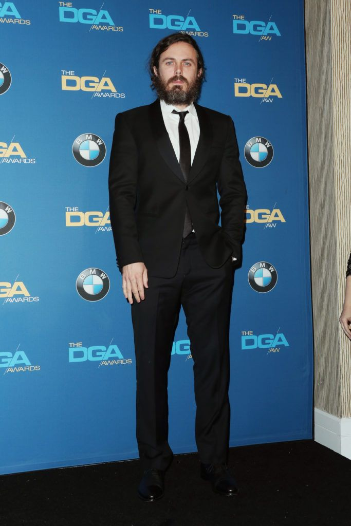Casey Affleck poses in the press room during the 69th Annual Directors Guild of America Awards at The Beverly Hilton Hotel on February 4, 2017 in Beverly Hills, California.  (Photo by Frederick M. Brown/Getty Images)