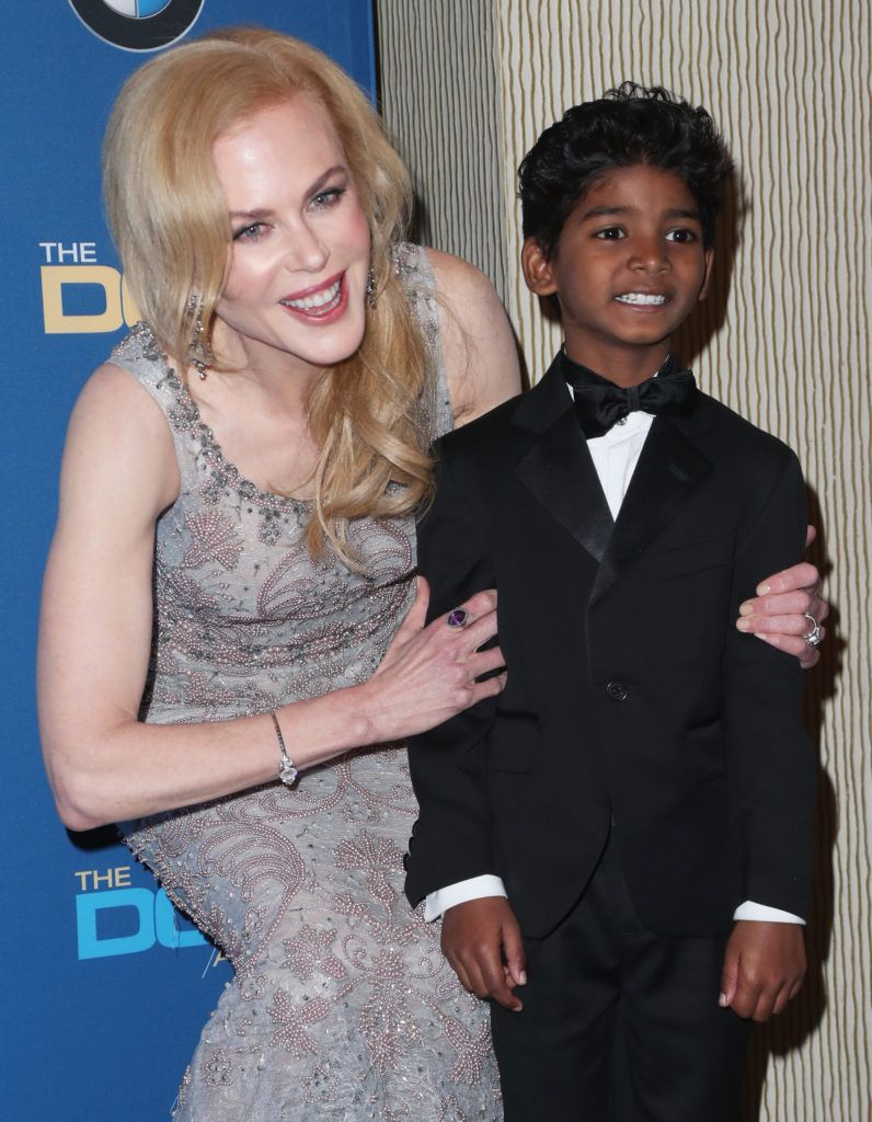 Nicole Kidman (L) and actor Sunny Pawar pose in the press room during the 69th Annual Directors Guild of America Awards at The Beverly Hilton Hotel on February 4, 2017 in Beverly Hills, California.  (Photo by Frederick M. Brown/Getty Images)